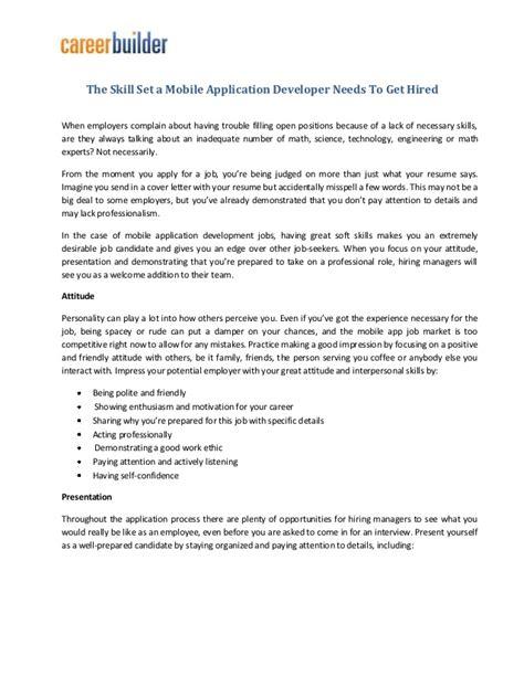skill set  mobile application developer    hired