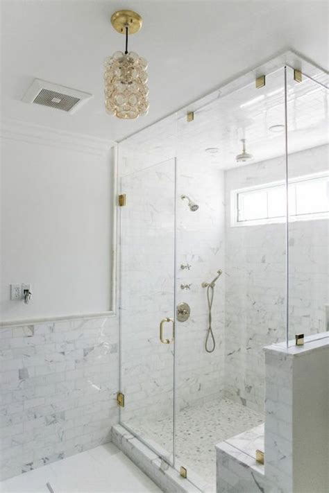 marble wainscoting corner walk in shower with chair rail tiles transitional