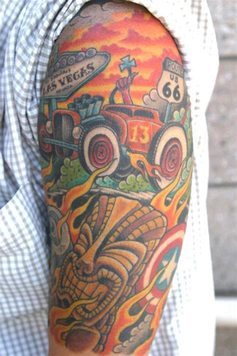 automotive tattoos designs unique colorful car