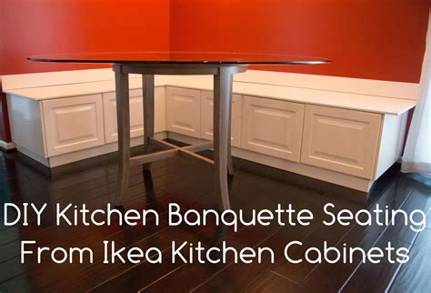 how to make a bench seat for kitchen table diy kitchen banquette bench using ikea cabinets ikea hacks