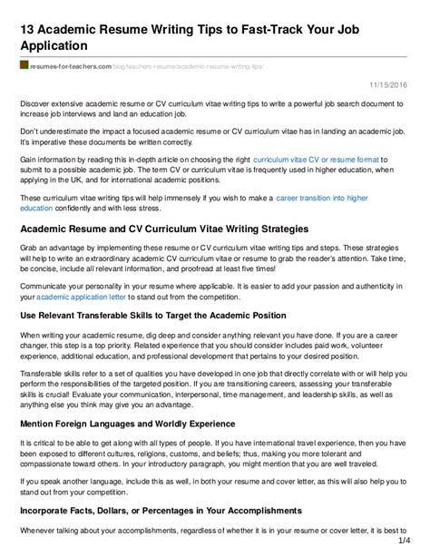 resume writing tips exles 13 academic resume writing tips to fast track your application