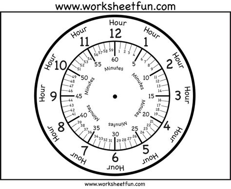 clock face with minutes printable worksheets