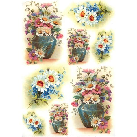 Rice Paper Craft Supplies - springtime daisies and flowers rice paper decoupage sheet