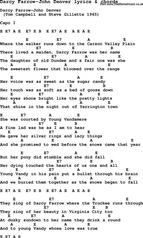 guitar tutorial john denver love song lyrics for darcy farrow john denver with chords