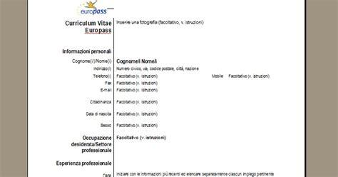 Modelo Curriculum Vitae Italiano Da Compilare Curriculum Vitae Pronto Da Compilare