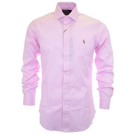 polo ralph slim fit pinpoint oxford pink shirt