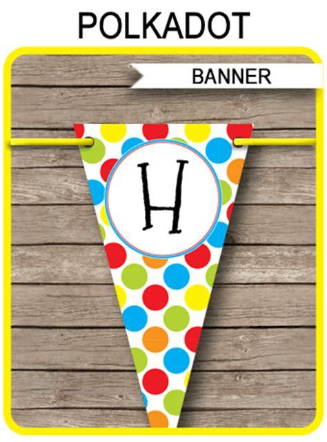 Bunting Flag Happy Birthday Polkadot 1 polkadot birthday banner template happy birthday bunting