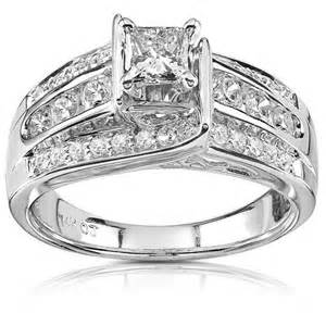 Huge 1 carat diamond engagement ring in white gold jewelocean com