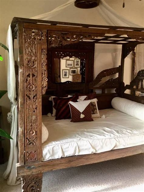 classic indonesian teak bed  stdibs