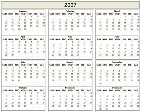 printable 2007 academic calendar trials ireland