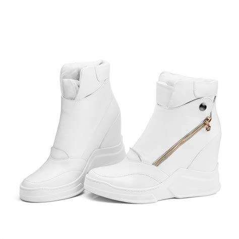 Sneaker Wedges White Snow Brokat Terbaru winter fashion boots white black wedges snow ankle boots elevator shoes inside heel boots