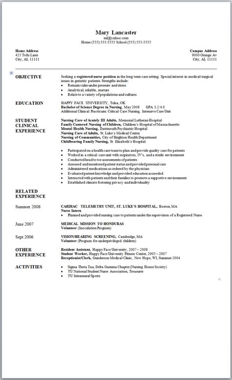 new graduate nurse resume sample nursing student resume writing tips