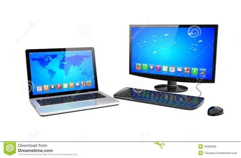 desk for laptop computer desktop pc and laptop stock illustration image of screen
