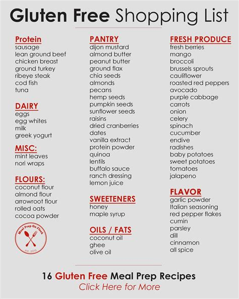 printable grocery list of gluten free foods 16 gluten free meal prep recipes to try this week meal