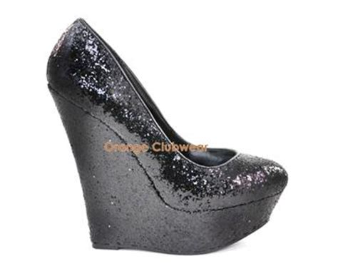 Wedges Import Wommen 6107w Htpt pleaser womens black glitter wedges 6 quot high heels