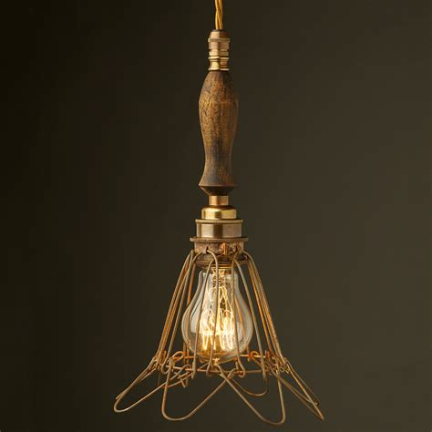 Cage Light Pendant Brass Trouble Light Cage Pendant Wooden Handle