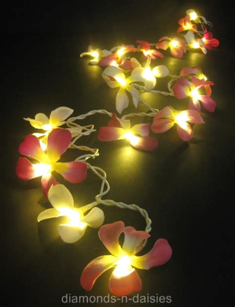 35 Pink White Mix Frangipani Flower 5m Led String Fairy White Flower Lights