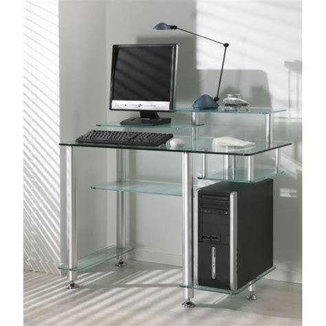 bureau design en verre transparent high desk achat