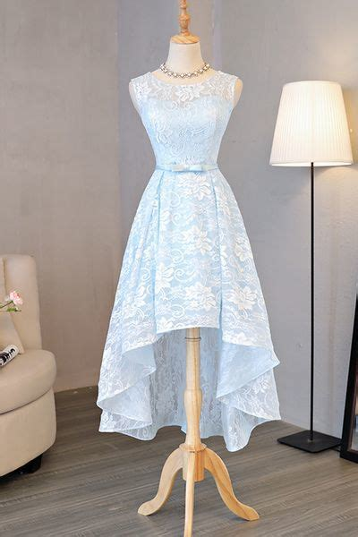sexy lace evening dresssleeveless light blue prom dress