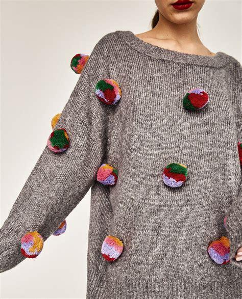 Sweater Zara S oversized pompoms sweater sweaters knitwear zara