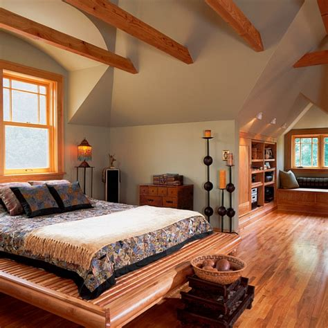 cabin bedroom decor cozy attic bedroom idea with a window seat