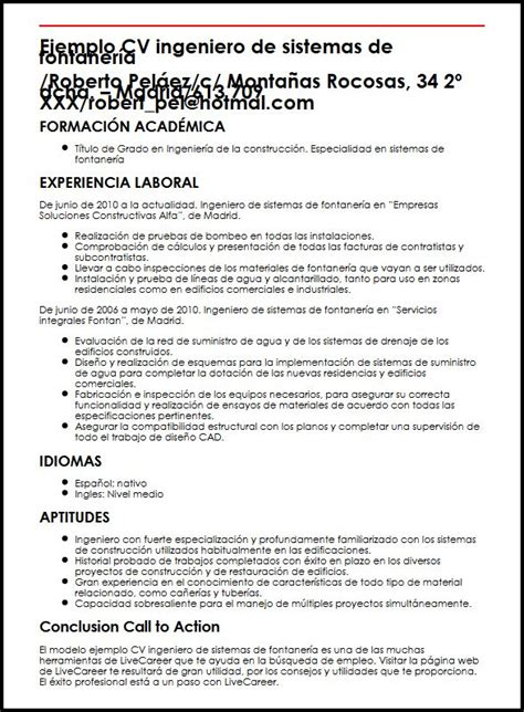 Modelo Curriculum Vitae Ingeniero De Sistemas Ejemplo Cv Ingeniero De Sistemas De Fontaneria Micvideal