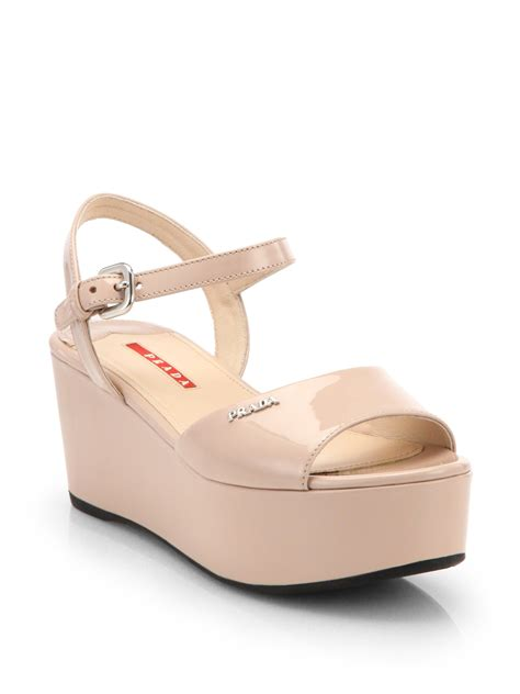 prada platform sandals prada patent leather platform sandals in pink cipria