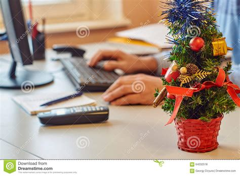 office desk christmas tree new year office decoration stock photo image of telephone