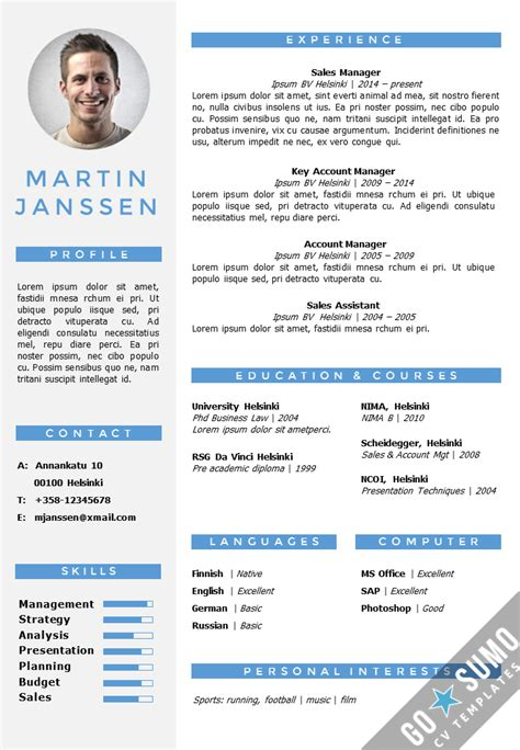 it cv template word cv resume template helsinki docx pptx gosumo
