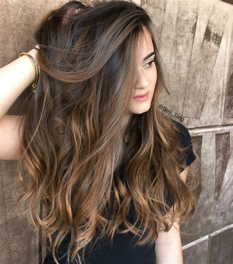 balayage dark brown long hairstyles