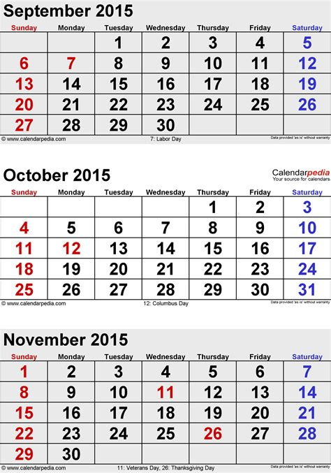 printable monthly calendar for september 2015 september october november 2015 3 month calendar