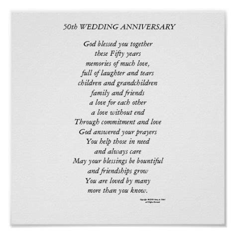 Wedding Anniversary Poems For Parents by 50th Wedding Anniversary Poster Wedding Anniversary