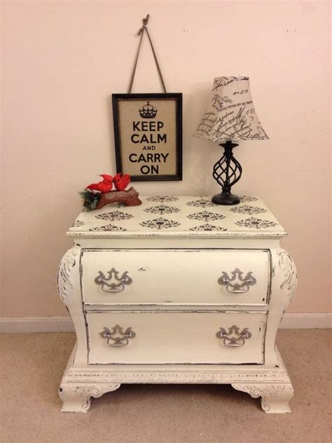 chic black and white damask bombe chest nightstand dresser painted furniture chalk painted