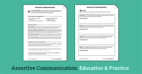 Assertive Communication Worksheet by Assertive Communication Worksheet Therapist Aid