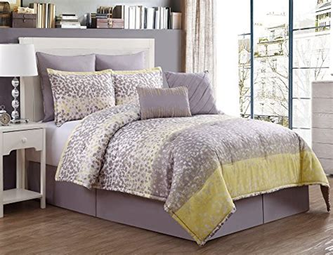 King Size 8 Pc Comforter 8 Pc Grey And Yellow Comforter Set King Size Bedding By Karalai Bedding Collection King