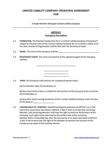 operating agreement templates free single member llc operating agreement template