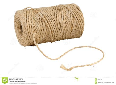 With String - roll of hemp string isolated on white stock image image