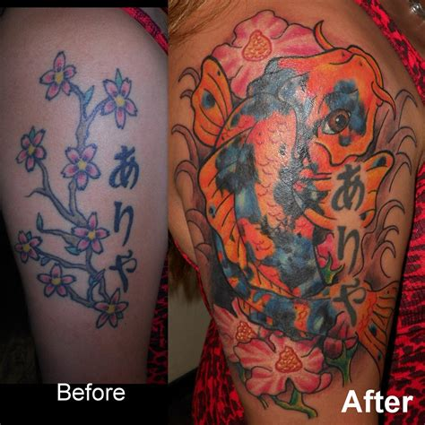 koi fish tattoo cover up koi fish cover up by enkayia on deviantart