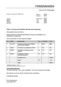 Angebot Nachfragen Muster Offerte Angebot Vorlage Schweiz Kostenlos Muster Und Vorlagen Kostenlos