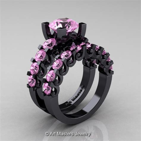 Modern Vintage 14K Black Gold 3.0 Carat Light Pink