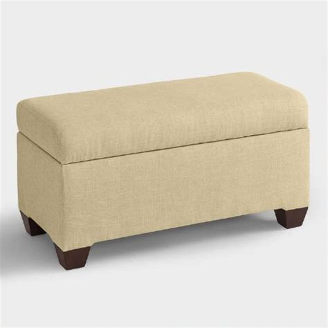 upholstered storage benches linen pembroke upholstered storage bench world market