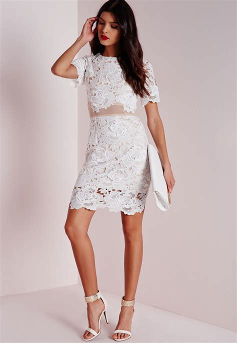 30580 Lace Dress White lyst missguided floral lace mesh waist bodycon dress white in white