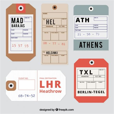 airline luggage tag template reaslistic travel tags vector free