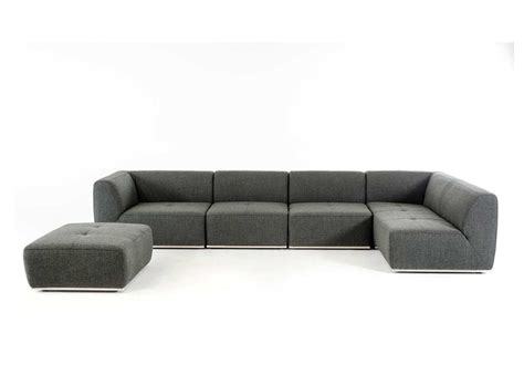 contemporary grey fabric sectional sofa vg388 fabric