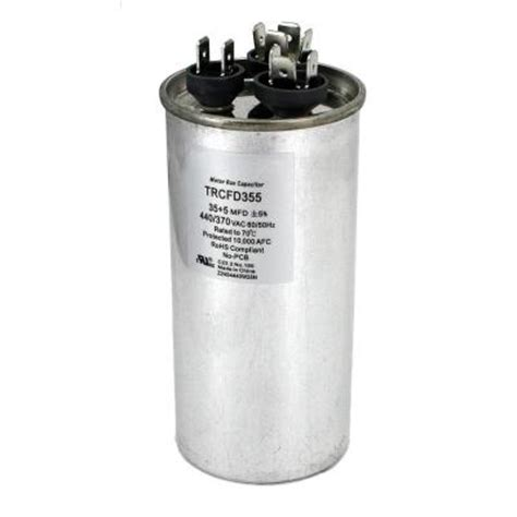 dual motor run capacitor mfd rating 35 5 packard 440 volt 35 5 mfd dual motor run capacitor trcfd355 the home depot
