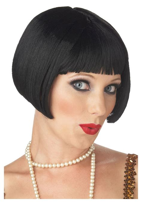 how to style costume wigs black flapper short bob wig discount costume wigs