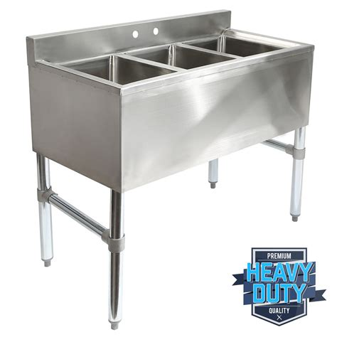 Three Compartment Kitchen Sink Three 3 Compartment Stainless Steel Commercial Kitchen Bar Sink Ebay