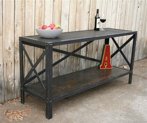 handmade scrap metal and wood industrial style table by jreal contemporary buffets and