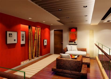 interior design red walls red wall and bamboo design for living room 3d house