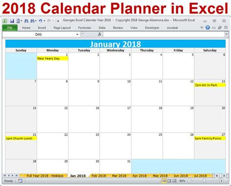 20 best 2018 calendar year excel templates digital